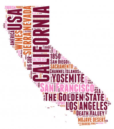 California USA state map vector tag cloud illustration