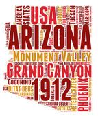 Arizona USA state map vector tag cloud illustration
