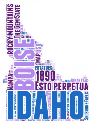 Idaho USA state map vector tag cloud illustration