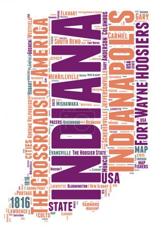 Indiana USA state map vector tag cloud illustration
