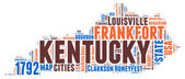 Kentucky USA state map vector tag cloud illustration
