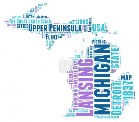 Michigan USA state map vector tag cloud illustration
