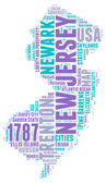 New Jersey USA state map vector tag cloud illustration
