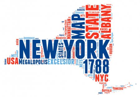New York USA state map vector tag cloud illustration
