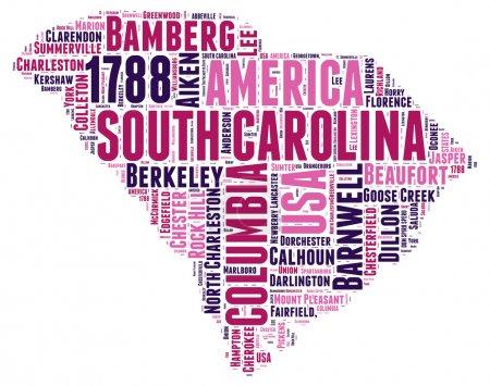 South Carolina USA state map tag cloud vector illustration