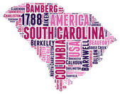 South Carolina USA state map tag cloud vector illustration
