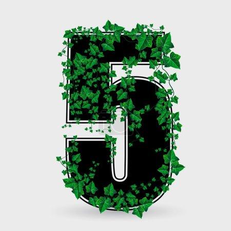 Vector ivy leaf decorated number five illustration...