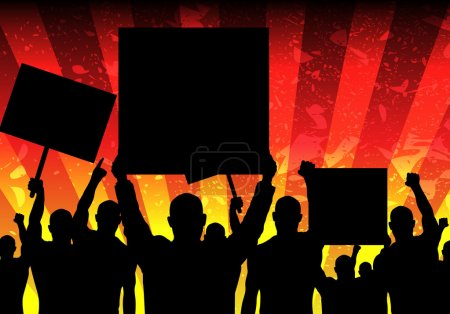 Vector Illustration of Riot People with Grunge Bac...