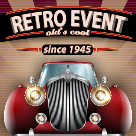 Illustration for Vector Retro Party Flyer Illustration with Vintage Car - Royalty Free Image