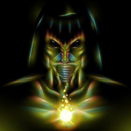 Illustration for Detailed vector alien assassin character design illustration - Royalty Free Image