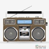 Vector retro Stereo Radio Cassette Recorder