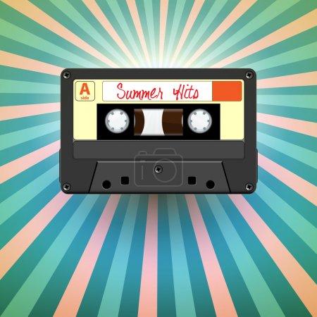 Vector retro audio cassette tape, summer hits