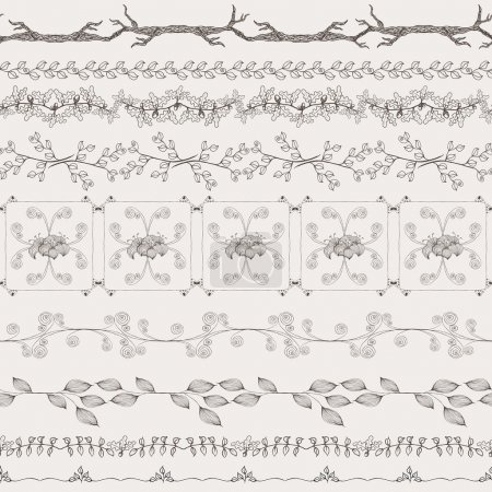 Illustration for Vector vintage nature style ornaments, dividers, frames, design elements and page decoration, set of ornate floral patterns template - Royalty Free Image
