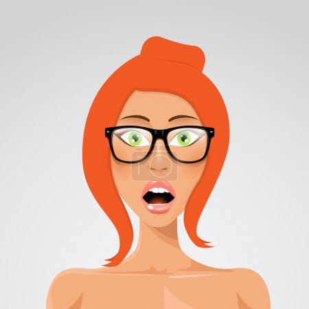 Illustration for Vector Beautiful Surprised Woman Portrait in Glasses - Royalty Free Image