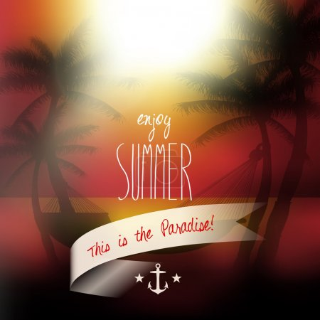Illustration for Vector enjoy summer summer message, sunset view in beach with palm trees and hammock background illustration - Royalty Free Image