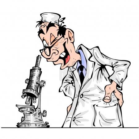 Cheerful cartoon scientist