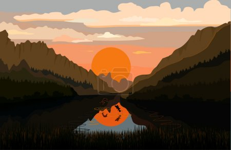 Tranquil mountain lake with fish...