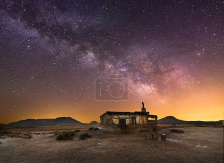 Photo for Shepherd hut at desert night near Pamplona, Spain - Royalty Free Image