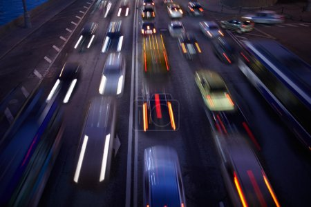 Photo for Car traffic at night. Motion blurred background. Long exposure shot. - Royalty Free Image