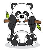 Panda eating bamboo sitting