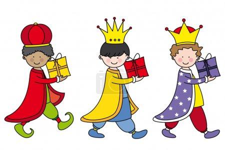 Illustration pour Enfants habillés en Trois Rois - image libre de droit