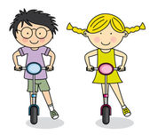 Boy and girl on Scooter in the Park - Vector