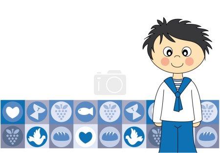 Illustration pour Première invitation de communion Card.Boy - image libre de droit
