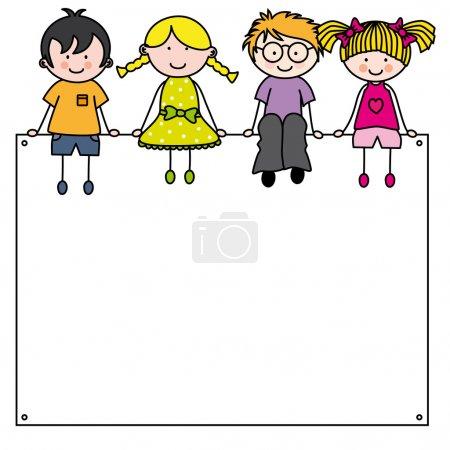Illustration for Cute cartoon kids frame - Royalty Free Image