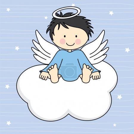 Illustration pour Ailes d'ange sur une carte de voeux de nuage - image libre de droit