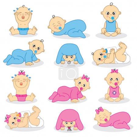 Illustration pour Illustration vectorielle de bébés garçons et de bébés gir - image libre de droit