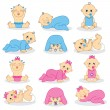 Vector illustration of baby boys and baby gir...