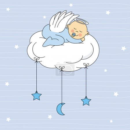 Baby girl dressed angel sleeping on a cloud
