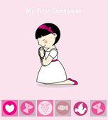 First Communion Invitation Card. Girl