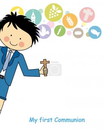 Illustration pour Garçon première communion - image libre de droit
