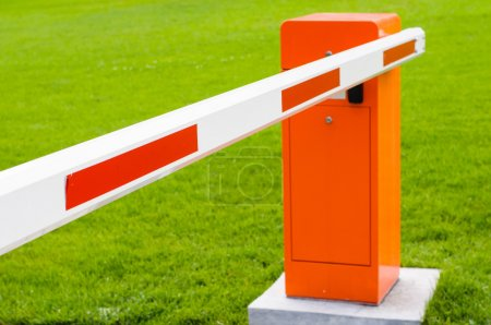Red and white closed barrier