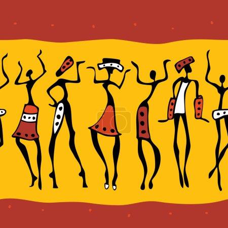 Photo pour Figures des danseurs africains. Illustration sans couture - image libre de droit