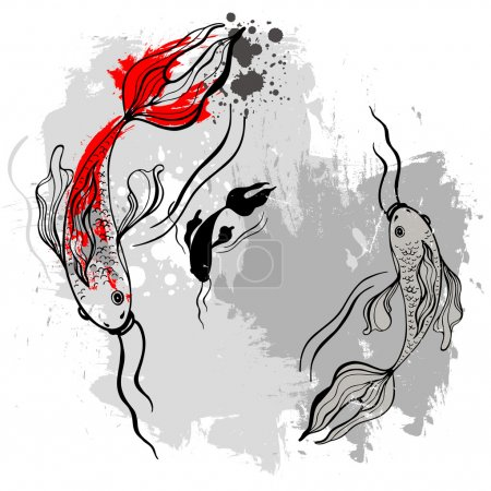 Illustration for Koi fishes. Japanese style. Vectorized brush painting - Royalty Free Image