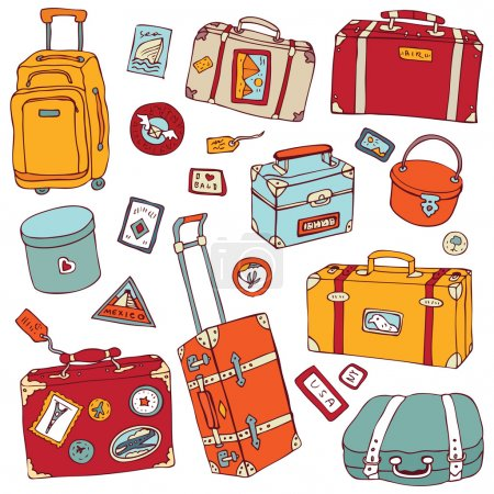 Illustration for Vector Collection of vintage suitcases. Travel Illustration isolated. - Royalty Free Image