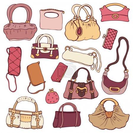 Illustration pour Collection sacs à main pour femmes. Vecteur dessiné à la main isolé . - image libre de droit