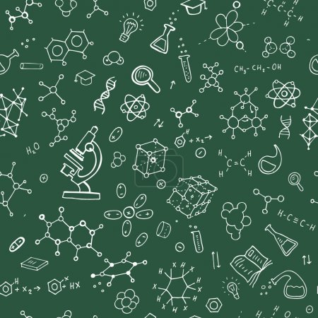 Illustration for Chemistry hand draw background. Seamless Vector illustration - Royalty Free Image