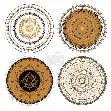 Illustration pour Mandala prêt. Vecteur motif décoratif indien . - image libre de droit