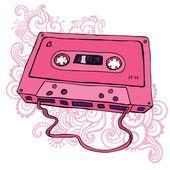 Pink Audio cassette Oldschool Vector illustration Retro cassette tape