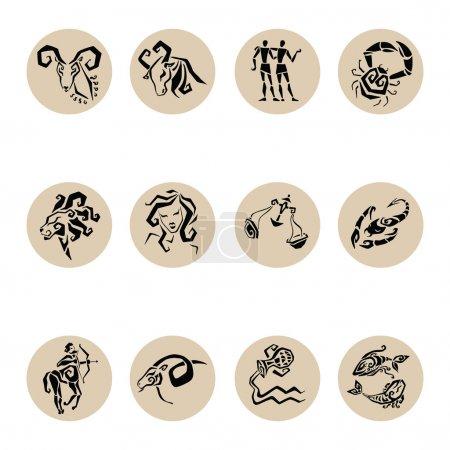 Illustration for Horoscope. Twelve symbols of the zodiac signs. - Royalty Free Image