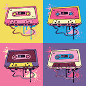 Retro Pink Audio cassette tape Oldschool Vector illustration