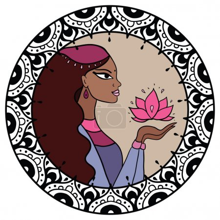 Illustration for Beautiful indian woman with lotus. Vector Illustration. - Royalty Free Image