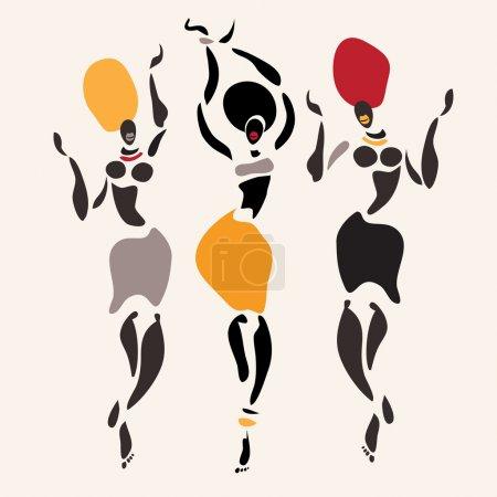 Illustration pour Figures de danseurs africains. Illustration vectorielle . - image libre de droit
