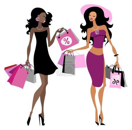 Illustration pour Des femmes avec des sacs à provisions. Illustration vectorielle - image libre de droit