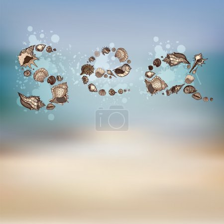 Illustration for Sea inscription. Text formed of Sea shells. Vector background. - Royalty Free Image