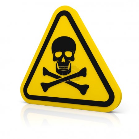 Yellow triangle warning deadly sign