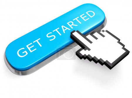 Blue GET STARTED button with hand cursor